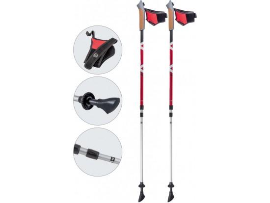 Палки для скандинавской ходьбы ECOS телескопические AQD-B015 red